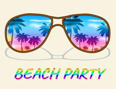 Beach Party Indicates Ocean Parties And Fun Piirros