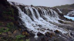 White nights view of unique waterfall -  Bruarfoss, Iceland, Europe. Stock Footage