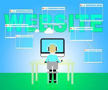 Website Online Means Browsing Internet 3d Illustration Stock Illustration