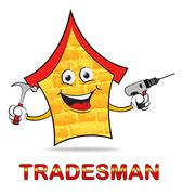 Building Tradesman Shows Home Improvement And Builder Stock Illustration
