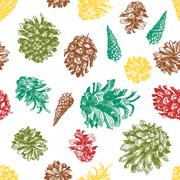 Pattern with drawn pine cones Stock Illustration
