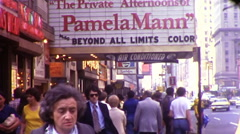 People Times Square Porno Theater Crowded NYC 1970s Vintage Film Home Movie 9989 Stock Footage
