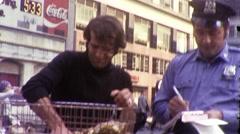 Policeman Writes Ticket Vendor Manhattan NYC 1970s Vintage Film Home Movie 9988 Stock Footage