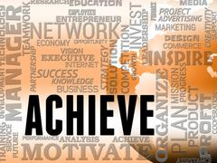 Achieve Words Shows Success Attainment And Achieving Stock Illustration