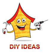 Diy Ideas Indicates Do It Yourself And Renovation Stock Illustration