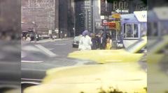 Woman Runs Through Manhattan Traffic Street NYC 70s Vintage Film Home Movie 9985 Stock Footage