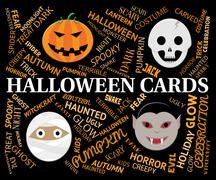 Halloween Cards Means Horror And Spooky Greetings Stock Illustration