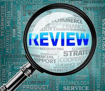 Review Magnifier Indicates Assessment And Evaluating 3d Rendering Stock Illustration