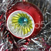 Tinsel and baubles for Christmas tree decoration Stock Photos