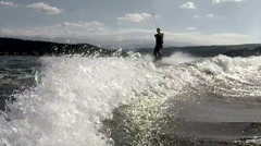 Wakeboarding as extreme and fun sport Stock Footage