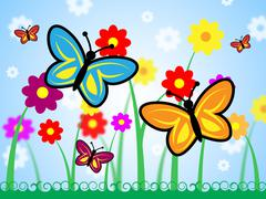 Butterflies And Flowers Means Floral And Insect Nature Stock Illustration