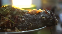 Video of Chinese food style whole fish steam with soy sauce and spring onion Stock Footage