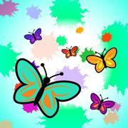 Colorful Butterflies Shows Vibrant Butterfly And Colourful Stock Illustration