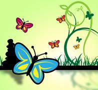 Field Of Butterflies Represents Grassland And Environment Stock Illustration