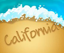 California Holiday Means Beach Getaway In America Stock Illustration