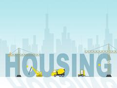 Housing Construction Represents Homes Building 3d Illustration Stock Illustration