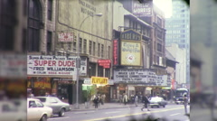 People 42nd Street Times Square Theaters  NYC 70s Vintage Film Home Movie 9978 Stock Footage