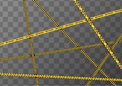 Different yellow and black caution tapes on transparent a4 background Stock Illustration