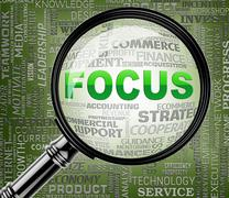 Focus Words Indicate Focused Concentration 3d Rendering Stock Illustration