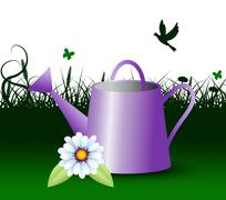 Watering Can Represents Horticulture Outdoors 3d Illustration Piirros
