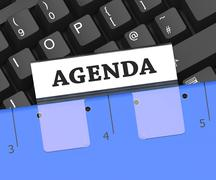Agenda File Shows Office Schedule 3d Rendering Stock Illustration
