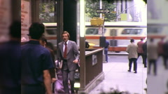 People Exit Subway Street Scene NYC 1970s Vintage Film Home Movie 9970 Stock Footage