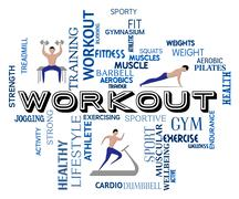 Workout Fitness Means Getting Fit And Training Stock Illustration