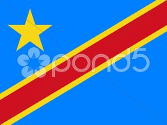 The national flag of Democratic Republic Congo Stock Photos