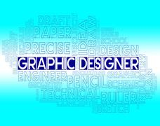 Graphic Designer Means Creative Sketch And Designs Stock Illustration