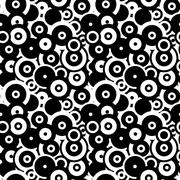 Black and white circles, abstract seamless pattern Stock Illustration