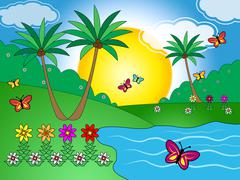 Butterflies On Lake Means Outdoors And Landscape Stock Illustration