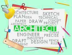 Architect Words Means Architecture Draftsman And Hiring Piirros