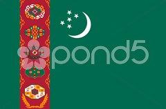 The national flag of Turkmenistan Stock Photos