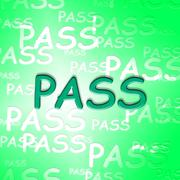 Pass Words Indicates Approve Passing And Verified Stock Illustration
