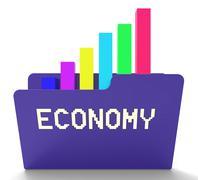 Economy File Shows Macro Economics 3d Rendering Stock Illustration