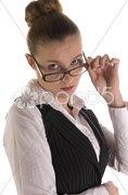 Hübsche junge Geschäftsfrau im Büro Stock Photos