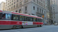 Toronto TTC Public Transit Streetcar Traffic Intersection Yonge King Street Stock Footage