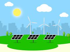 Solar Wind Power Means Alternative Energy And Electricity Piirros