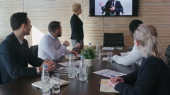 Business Team at Video Conference Stock Footage