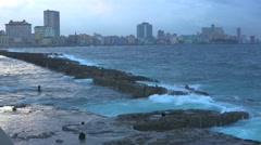 Beautiful shot of the Havana Cuba skyline as photographed from the Malecon Stock Footage