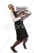 Junge Sekretärin, Geschäftsfrau trägt Akten Stock Photos