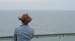 Woman on the ferry boat in Baltic sea Stock Footage