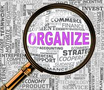 Organize Magnifier Shows Arranged Management 3d Rendering Stock Illustration