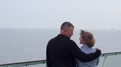 Happy family. Man with his wife traveling on the Ferry Boat Stock Footage