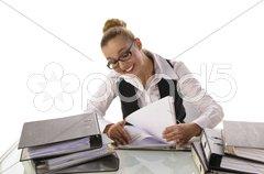 Junge Sekretärin, Geschäftsfrau mit Akten Stock Photos