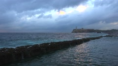 The fort and waterfront in Havana, Cuba. Stock Footage