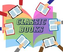 Classic Books Means Period Literature And Fiction Stock Illustration