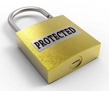 Protected Padlock Shows Restricted And Secured 3d Rendering Stock Illustration