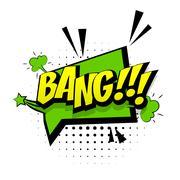 Comic green sound effects pop art word bang Stock Illustration