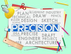 Precision Words Shows Accuracy Exactness And Precise Stock Illustration